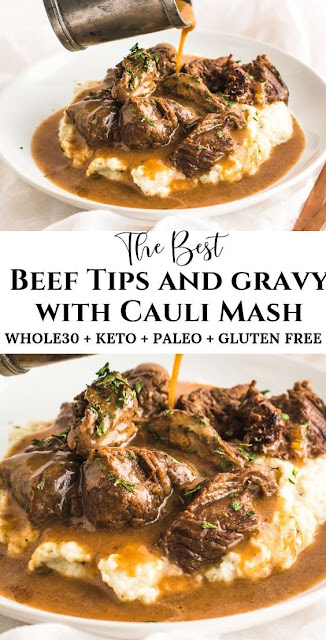 Beef Tips & Gravy over Cauliflower Mash (Whole30, Keto, Paleo)