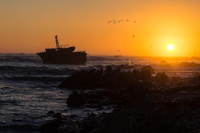 Atardecer en el Cape Agulhas (Cabo de las Agujas), Sudáfrica