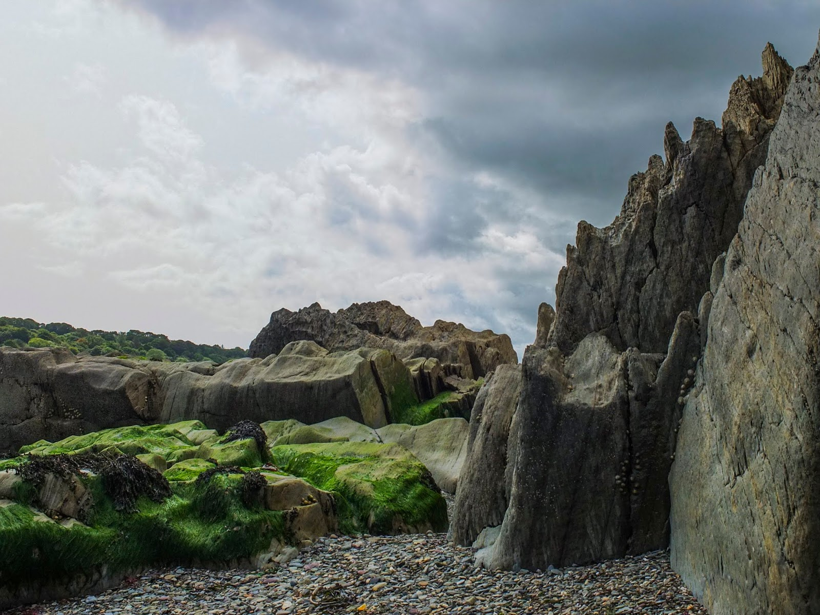 Jagged rocks on the beach in Fountainstown, County Cork.
