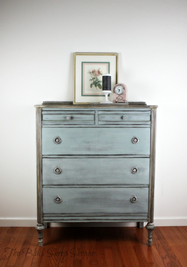 Dresser painted in custom mix of Paris Grey and Duck Egg blue chalk paint.
