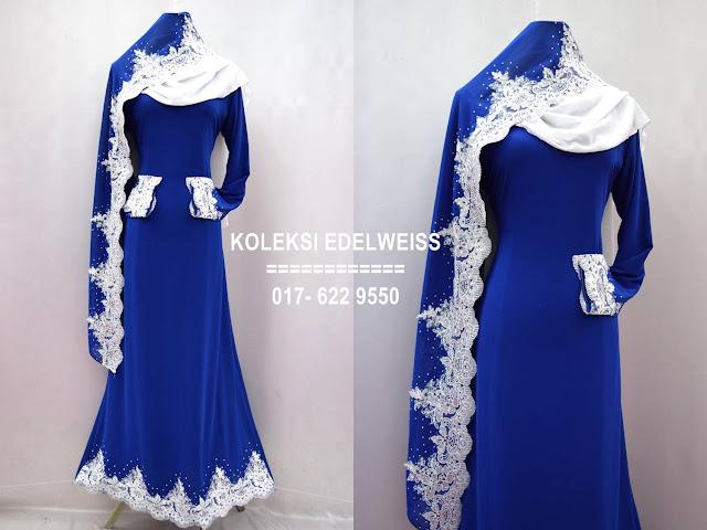 Baju kahwin Baju Tunang NIkah Simple Warna Royal Blue