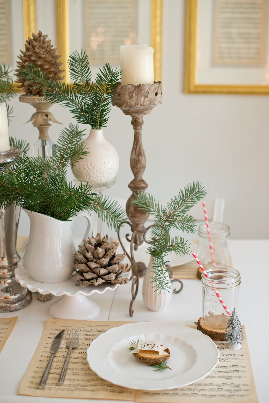 domestic fashionista natural christmas tablescape. Black Bedroom Furniture Sets. Home Design Ideas