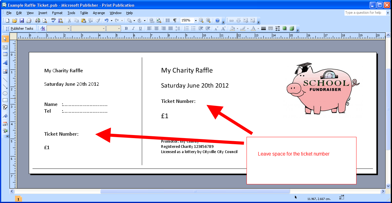 Printable numbered raffle tickets on your own computer for Raffel ticket template