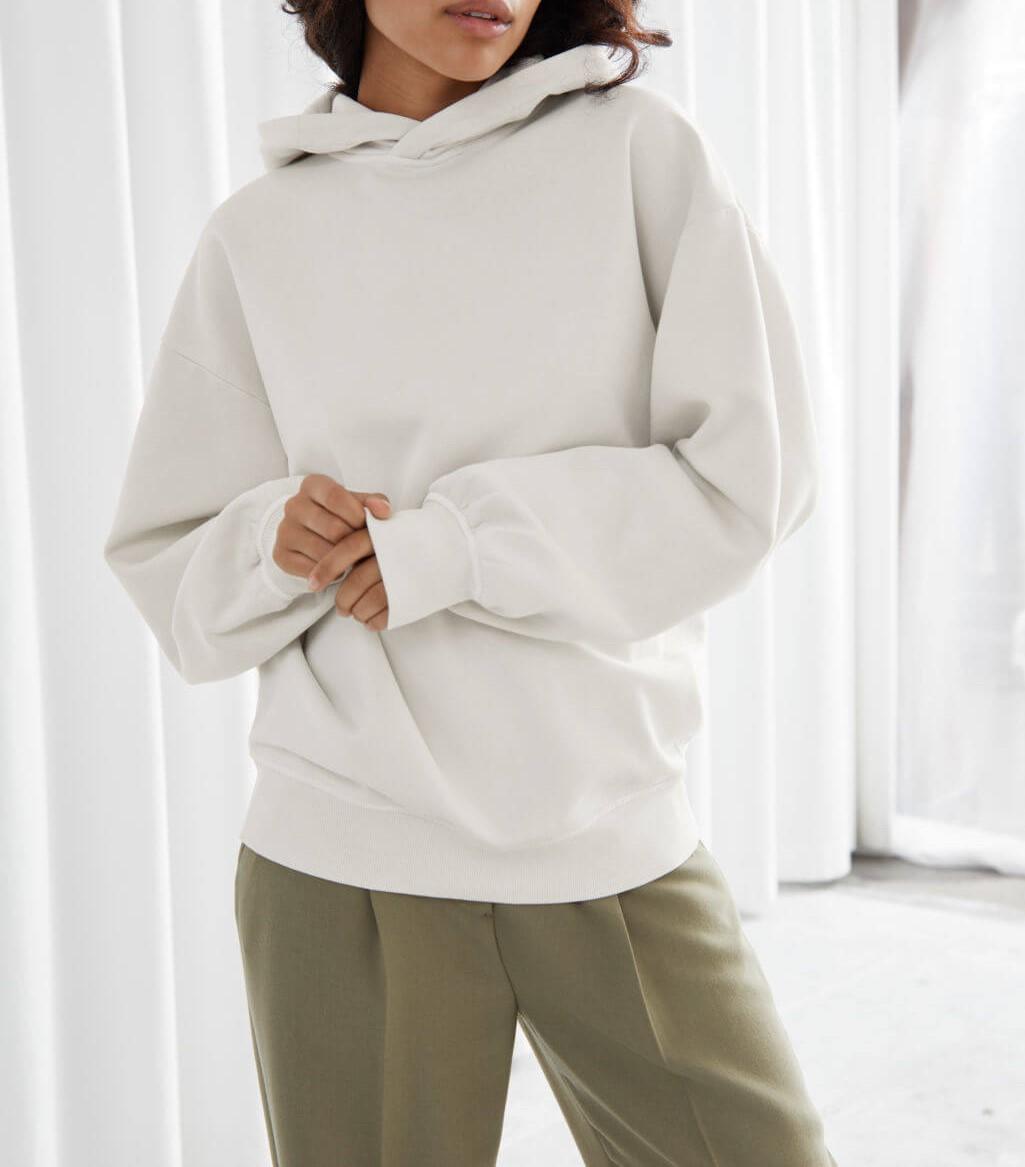 creme oversized hooded boxy sweatshirt
