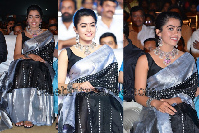 Rashmika Mandanna Black Silk Saree
