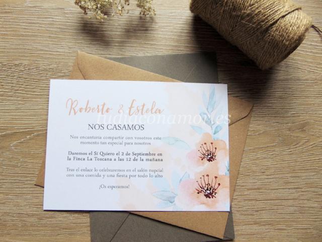 Invitaciones con dibujos de flores pintadas en acuarela