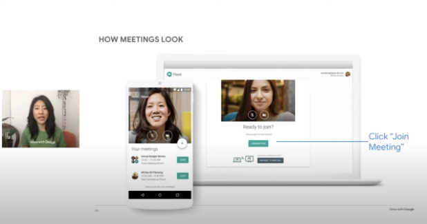 Image of joining a Grow with Google OnAir workshop on Meet