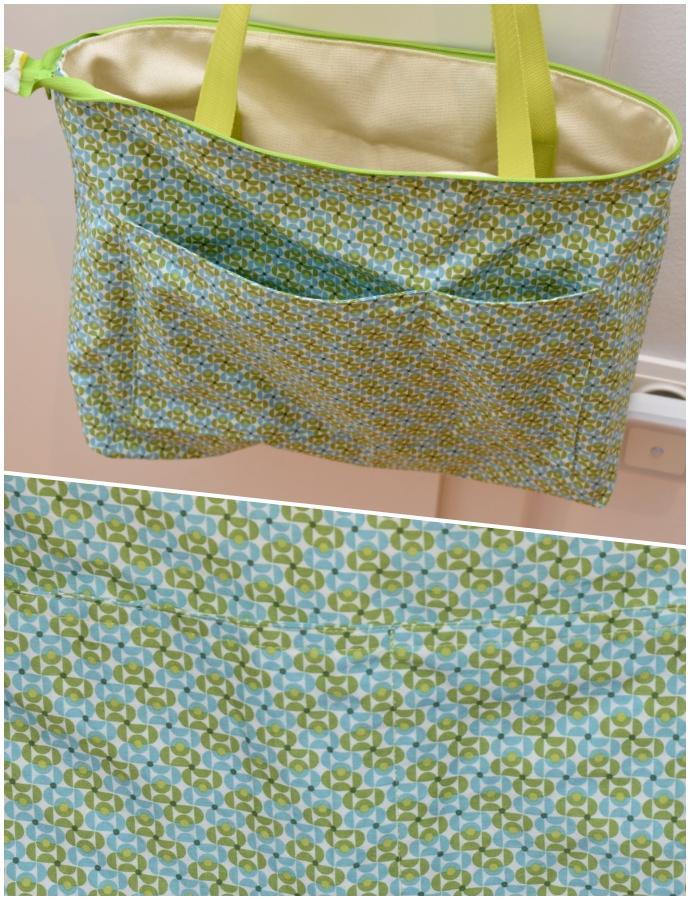 Ruckzucktasche innen: Baumwollstoff und Aufsatztasche mit Abnäher in gleichem Stoff