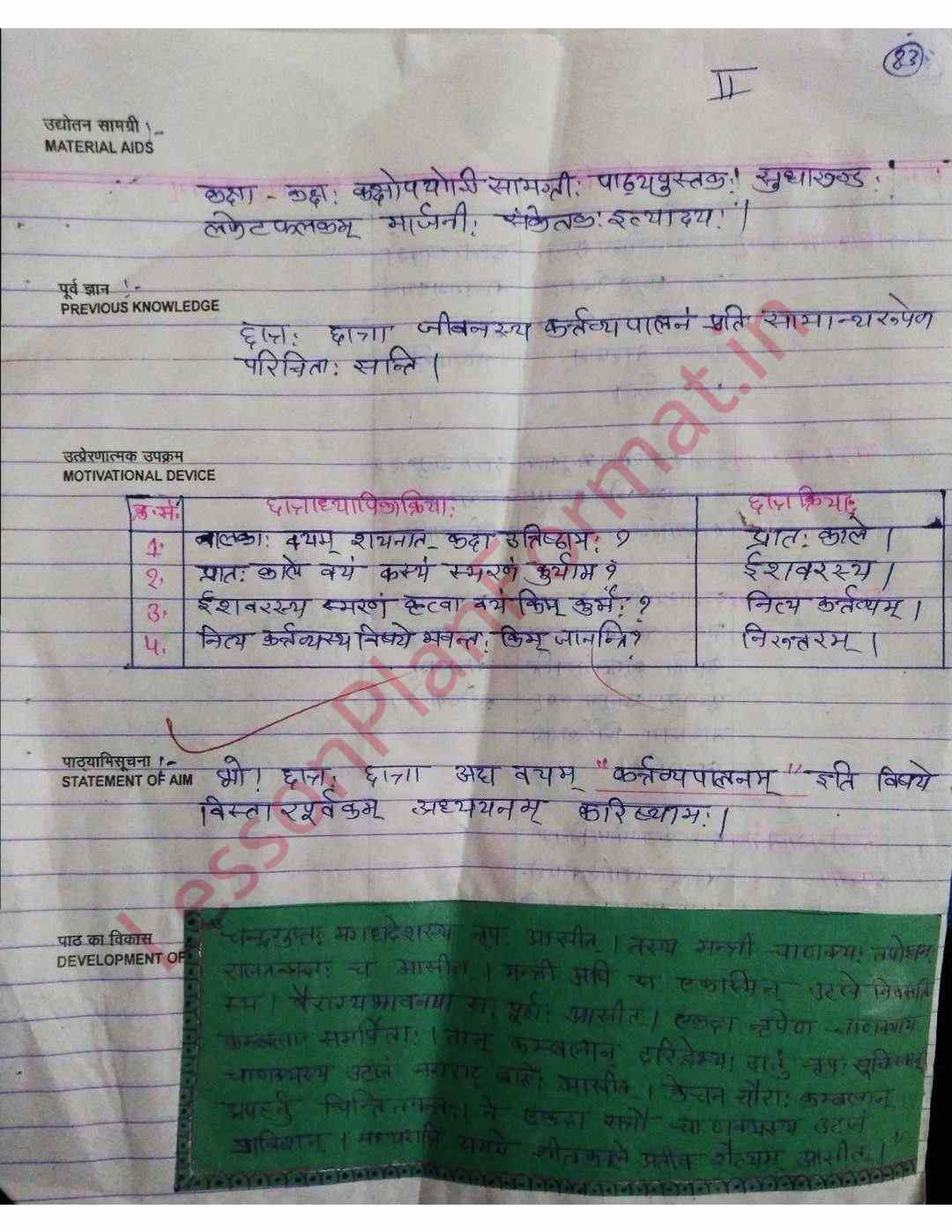 Sanskrit Lesson Plan Class 8 | B. Ed | D El Ed