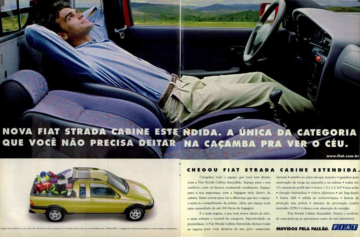 Anúncio da Fiat lançando a Strada com cabine estendida em 1999