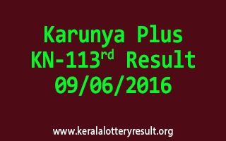 Karunya Plus Lottery KN 113 Results 9-6-2016