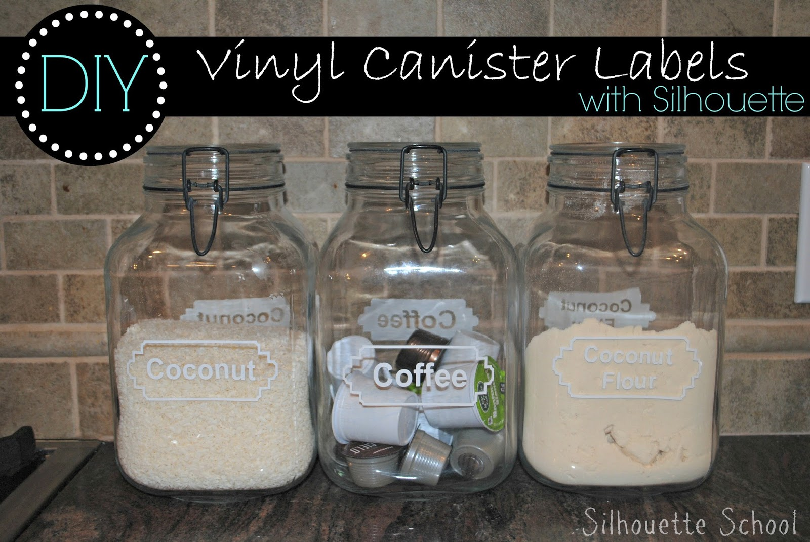 Kitchen canister labels, DIY, do it yourself, free, Silhouette Studio, file