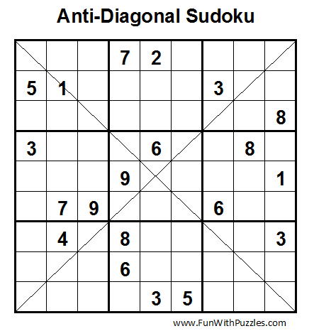 Anti-Diagonal Sudoku (Fun With Sudoku #1)