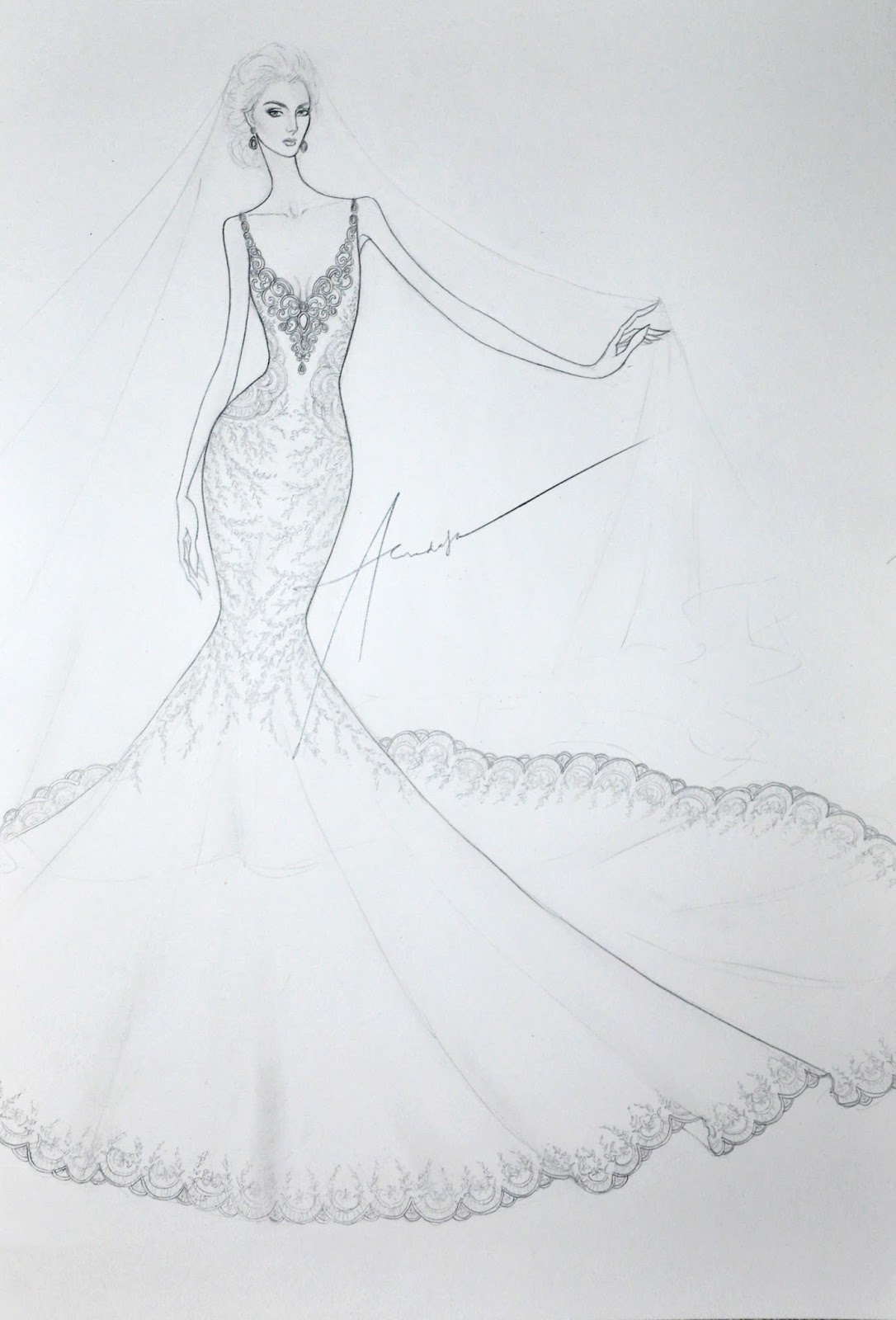 Brides, Queens and Princesses: Bridal Gown Sketch