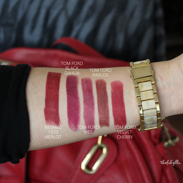 BESAME COSMETICS CLASSIC COLOR LIPSTICK, 1933 MERLOT, REVIEW, SWATCH, TOM FORD BLACK DAHLIA, TOM FORD VELVET CHERRY, TOM FORD WES, TOM FORD PAVLOS