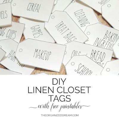 DIY Linen Closet Tags with Free Printables #organization #diy #freeprintables