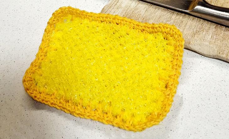 gelber Spülschwamm aus Obstnetz - vonKarin