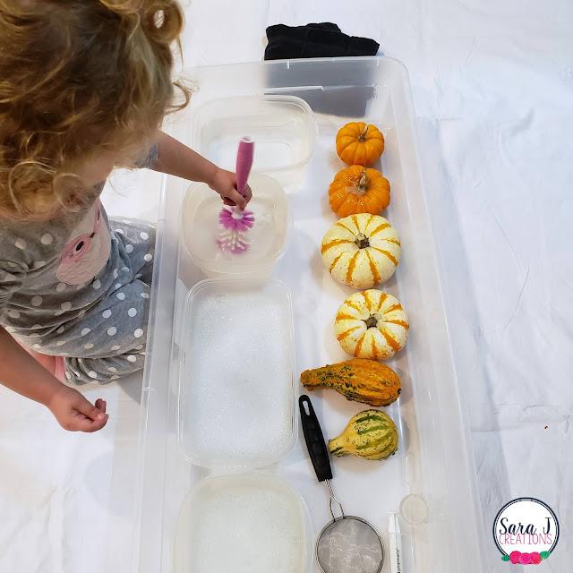 Pumpkin Wash sensory bin