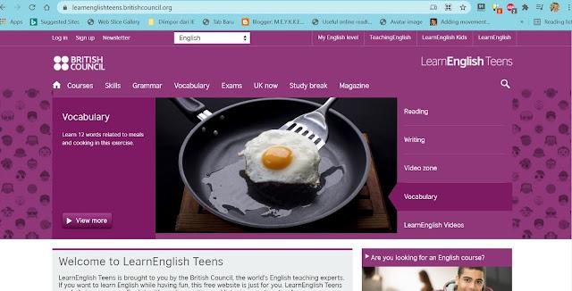 5 Website Gratis untuk Pembelajaran bahasa Inggris Online yaitu learnenglishteens.britishcouncil.org
