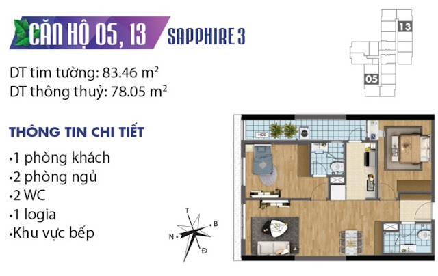 Thiết kế căn hộ số 5 và 13 tòa Sapphire 3