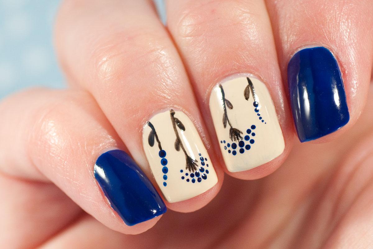 Retro style Blue Floral dotticure Manicure