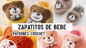 Escarpines y botitas de bebés con ositos a crochet | Tutoriales
