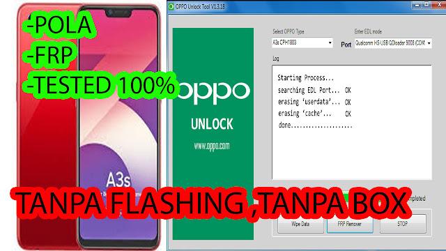 buka pola oppo A3s tanpa flash