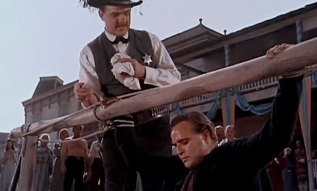 One-Eyed Jacks, Marlon Brando and Karl Malden, Dad Longworth (Karl Malden) teaches Rio (Marlon Brando) a lesson
