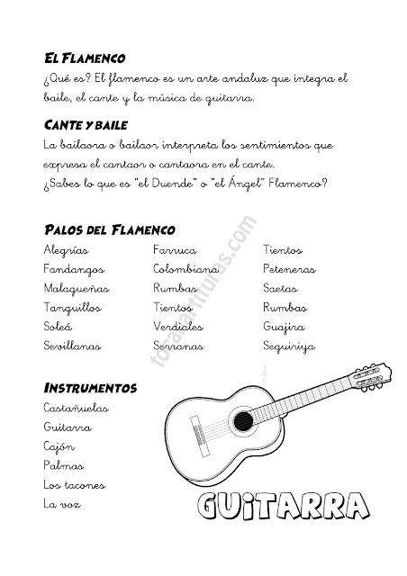Ficha 2 El Flamenco en la Escuela ¿Qué es? Cante y baile, Palos de Flamenco e Instrumentos Musicales tradicionales. Colorear Guitarra