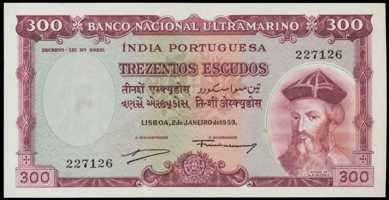 Portuguese India banknotes 300 Escudos note 1959 Afonso de Albuquerque