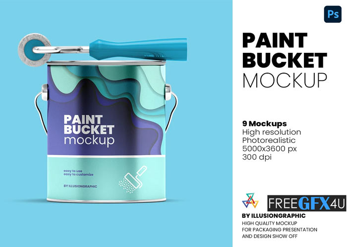 Paint Bucket Mockup 9 Views