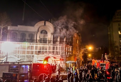 Iranians infuriated by the killing of a cleric ransacked and set fire to the Saudi Embassy in Tehran.