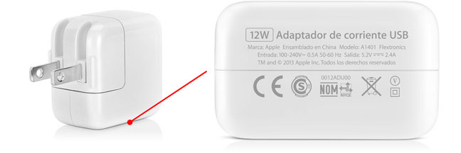 Adaptador cargador iPad 12W