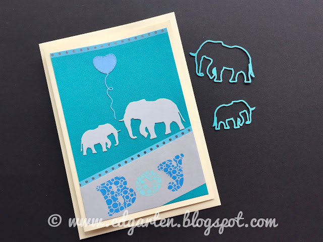 Karte mit Elefanten