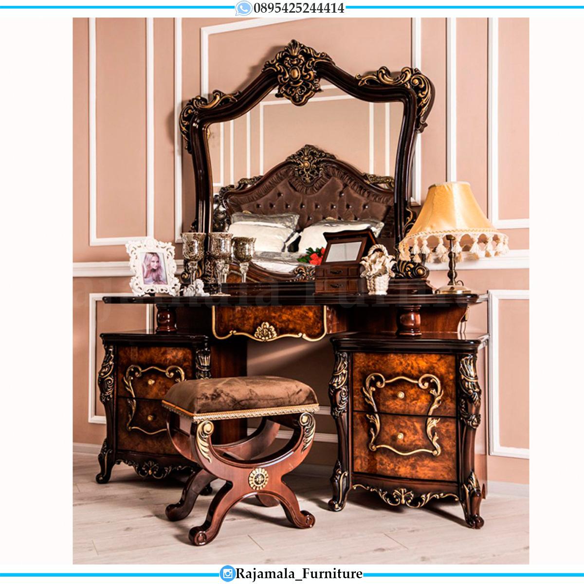 New Set Meja Rias Mewah Jati Natural Classic Marquetry Combination RM-0547