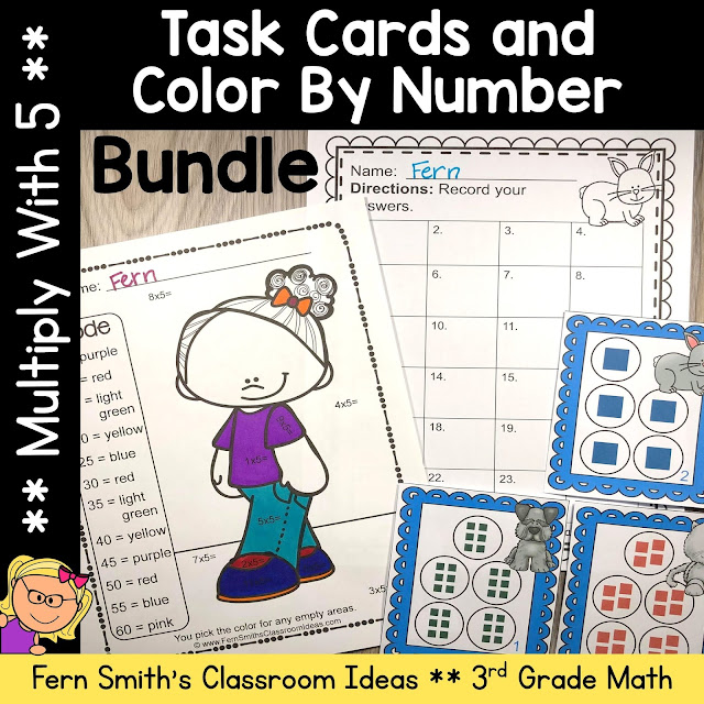 3rd Grade Go Math 4.2 Multiply With 5 Color By Number and Task Card Bundle by Fern Smith's Classroom Ideas