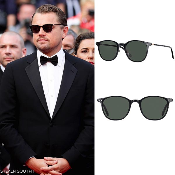 Leonardo DiCaprio with black Garrett Leight sunglasses at Cannes 2019
