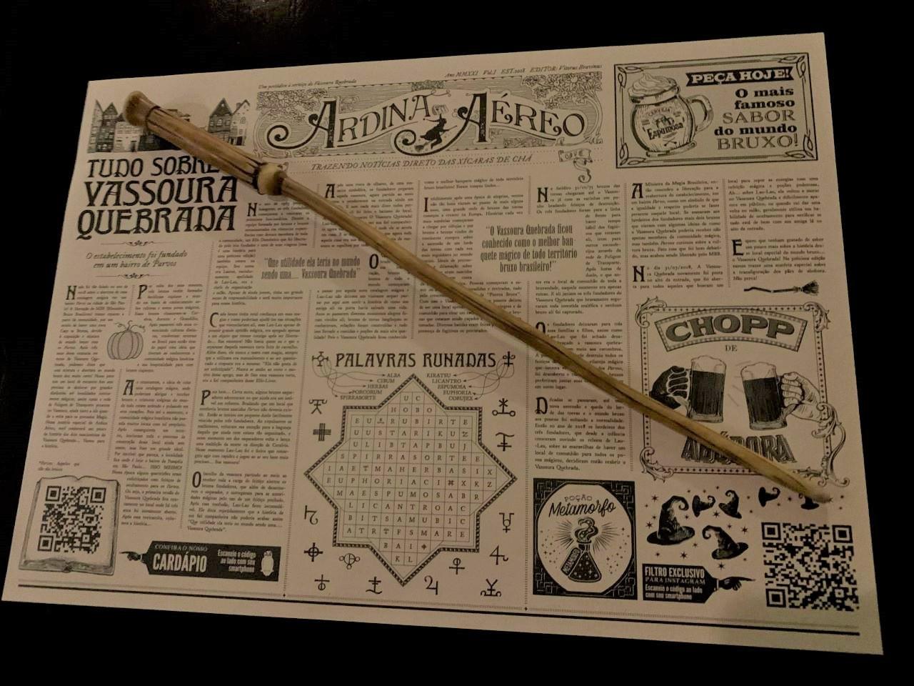 varinha e mapa do harry potter