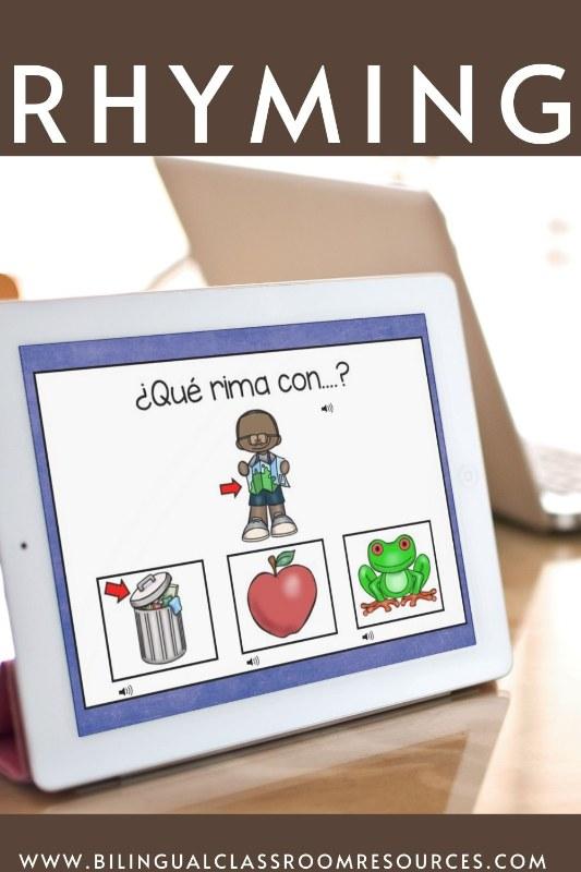 BOOM CARDS Rhyming in Spanish l Rimas