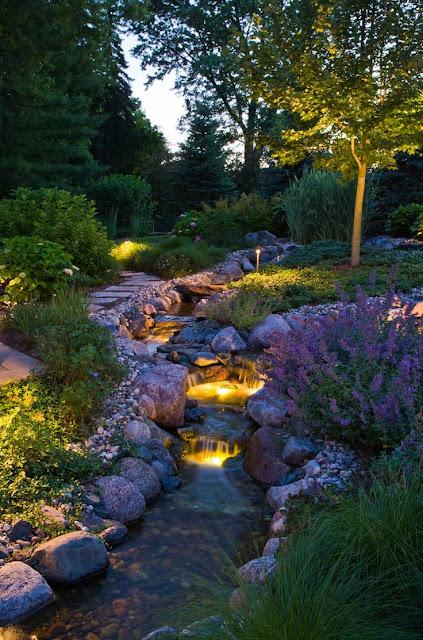 Garden river ideas with waterfall lights underwater