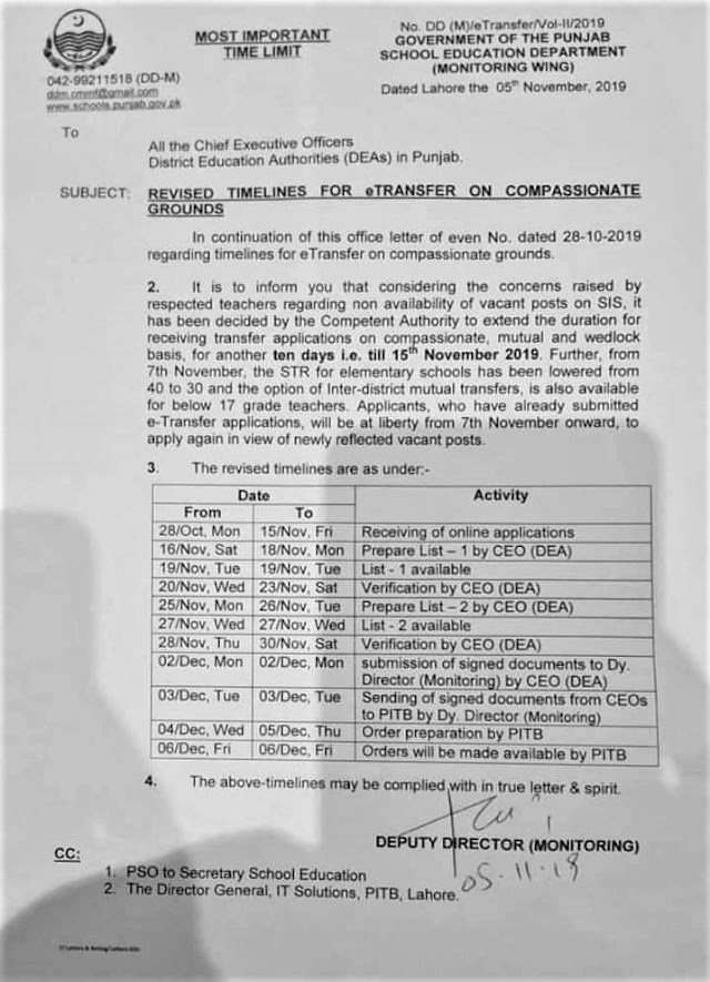 REVISED TIMELINES FOR E-TRANSFER ON COMPASSIONATE GROUNDS