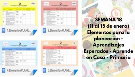 SEMANA 18 (11 al 15 de enero) - Elementos para la planeación - Aprendizajes Esperados - Aprende en Casa - Primaria