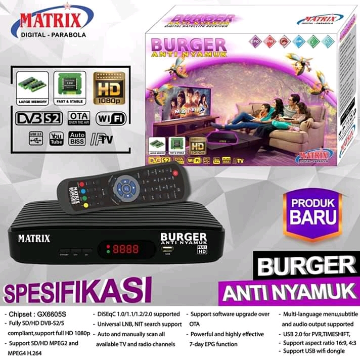 reciver terbaru matrix burger anti nyamuk