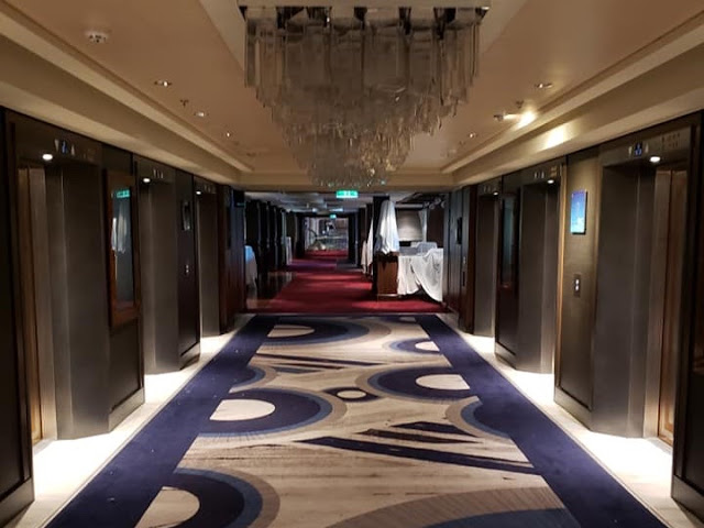 The inside of a vacant cruise ship during the COVID-19 lockdown