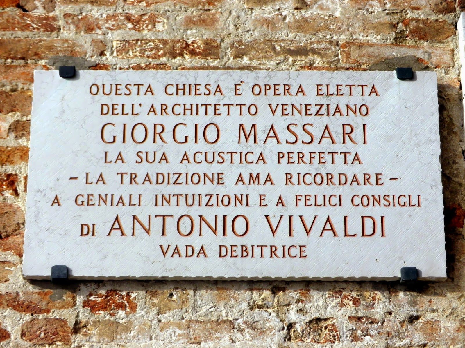 Plaque to Giorgio Massari and Antonio Vivaldi on the church of Santa Maria della Pietà, Venice.