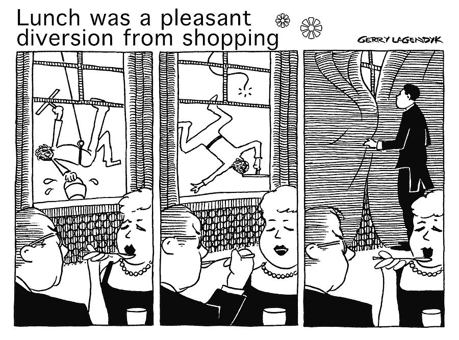 cartoon about restaurant and window washer