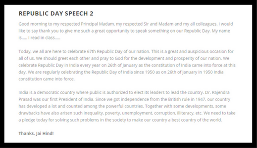 26 January Happy Republic Day Speech