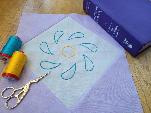 Embroidered Swirl Flower block | DevotedQuilter.com