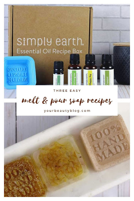 How to make melt and pour soap. This has three easy soap making recipes that are perfect for beginners, including one herbal soap with calendula, one face soap, and a sugar scrub exfoliating soap. Homemade simple glycerin soap makes great gift ideas for her. These diy soaps have essential oils. Simple recipes and ideas for moisturizing bars of soap. #soap #soapmaking #essentialoils
