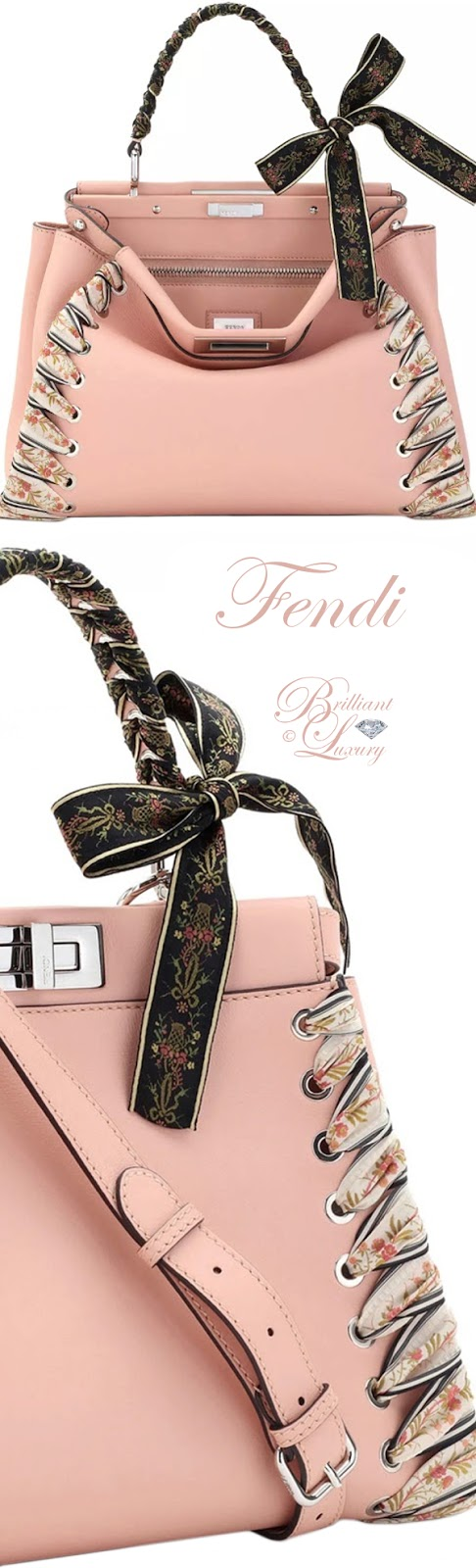 Brilliant Luxury ♦ Fendi Peekaboo Medium Ribbon Whipstitch Satchel Bag in Light Pink